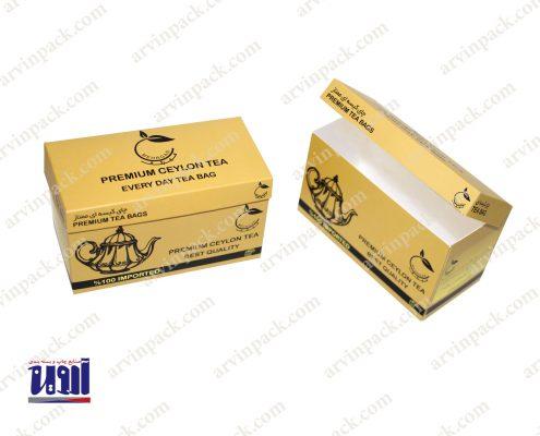 جعبه سازی تولید جعبه مقوایی چای بسته بندی تی بگ مهرگان قیمت جعبه چای
